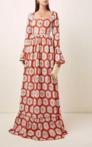 NEW Agua by Agua Bendita Curuba Dress Linen Maxi Red Orange Floral Tile Printed