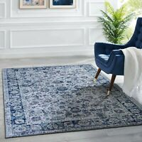 Grey Blue Allover Floor Rug Soft Distressed Persian Border Carpet 160x230cm
