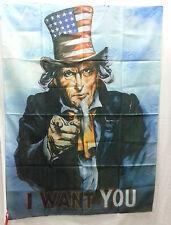 BANDIERA ZIO SAM WE WANT YOU AMERICA AMERICANA UNITED STATES USA QUADRO DA MURO
