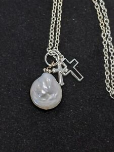 Silver Tone White Flat Pearl Cross Charm Necklace