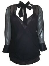 LONG SLEEVED BLACK SHEER MATERNITY TOP WITH CAMISOLE - SIZE 10