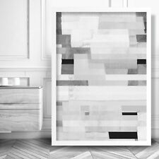 Abstract Art PRINT of Watercolour Black White Grey Geometric blocks