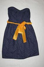 Womens NAVY BLUE COWGIRL DRESS Strapless SWEETHEART NECKLINE Belt Loops L 12-14