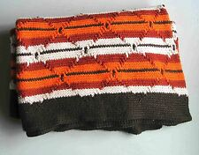 """Hand Crafted AFGHAN Blanket Throw 44x56"""" Acrylic Warm Harvest Colors FREE SH"""