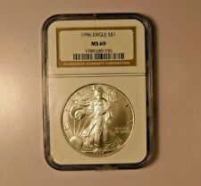 1996 EAGLE NGC MS69 $1 SILVER Uncirculated Certified Coin AH0060