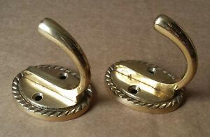 2 X Vintage Used Brass Single Coat Hooks with Rope Edge Decoration