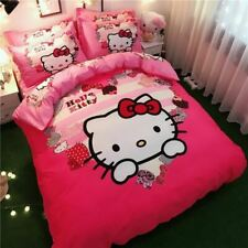 Cotton Bedding Sets Lovely cartoon pink series love Hello Kitty Duvet Cover Bed