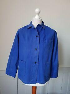 VINTAGE Womans Worker CHORE Blue Work Shirt Jacket Hobo Worn SIZE Medium *TS24*