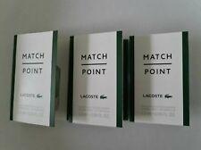 3 x Lacoste Match Point Eau De Toilette Pour Homme 1.5ml Mini Sprays
