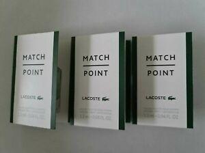 3 x Lacoste Match Point Eau De Toilette Pour Homme 1.2ml Mini Sprays
