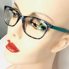 OGI EVOLUTION Eyeglasses Brown Marbled Glossy Frames with Green Metal Arms