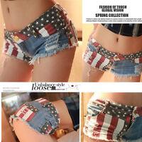 1PC Sexy American US Flag Mini Shorts Jeans Hot Pants Denim Low Waist S-L HOT