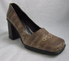 Donald J. Pliner Women's Platform Stacked Heel Pump Shoe Brown Italy Size 7M