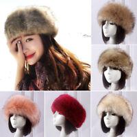 Women Faux Fox Fur Hat Russian Winter Ear Warmer Fluffy Cap Beanie Headband Gift