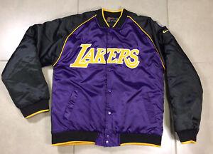 VTG YOUTH Nike Los Angeles LA Lakers Sz L Satin Bomber Jacket Vintage 90's NBA