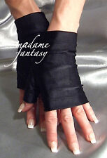 MADAME FANTASY SEXY BLACK SHINY SPANDEX FINGERLESS GLOVES
