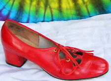 6.5 M vtg 60s red patent leather lace-up oxfords shoes