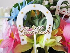 Floral Picks GOOD LUCK WHITE & GOLD HORSESHOE Symbol Gift Baskets, Centerpieces