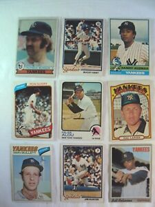 Lot 8 Topps 1970's NY Yankees 1979 #310 Thurman Munson 1978 #335 Bucky Dent