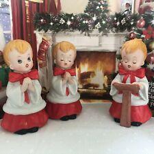 "Homco Vintage Choir Boy Figurines Set of 3 Ceramic Bisque 5"" T Christmas Decor"