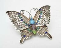 VINTAGE CHINESE EXPORT FILIGREE SILVER & CLOISONNE ENAMEL BUTTERFLY BROOCH PIN