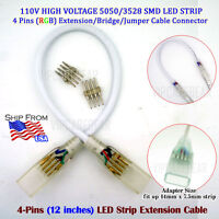 12 inch 4pin Extension Joint Cable for 110V High Voltage RGB 5050/3528 LED Strip