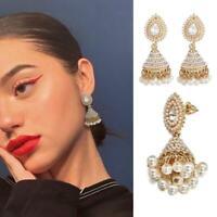 Indische Ohrringe Perle Anhänger Jhumka Drop Ohrstecker Hochzeit baumeln S Heiß