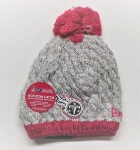 Women's New Era NFL Pink Breast Cancer Knit Beanie Hat - Tennessee Titans