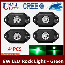 4X 9W LED Rock Light 4 pods Lights for Off Road Truck Car SUV Under Wheel GREEN