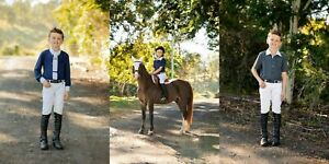 HH Equestrian Australia*Kids Riding Jodphurs*Suede Knees*WHITE*Toddlers Upwards
