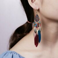 Boho Bohemia Jewelry Beads Feather Beads Hook Drop Dangle Earrings Women Gift