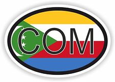 COM COMOROS AFRICAN COUNTRY CODE OVAL FLAG STICKER bumper decal car tablet bike