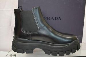 PRADA 2TG154 BLACK LEATHER LOGO ELASTIC PLATFORM CHELSEA BOOTS 8 / US 9 ITALY