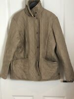 Barbour Ladies Polarquilt Beige Brown Jacket Size 16
