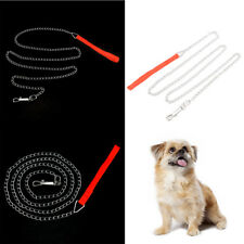 heavy duty metal chain dog puppy walking lead leash clip with red nylon handle U