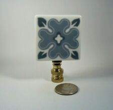 Lamp Finial Blue and White Porcelain Tile Square Same Back Lampshade Finial 44HN
