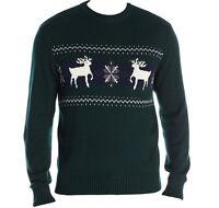 Dockers Men's Cotton Ugly Christmas Sweater Reindeer Snowflake Dark Green Sz XL