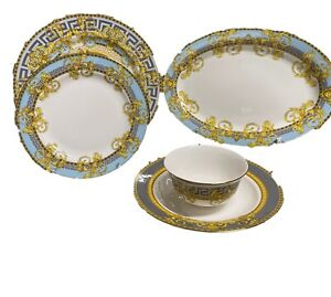 Imperial Greek amphora Blue/Grey/Gold Dinner Set, Service For 6 Person