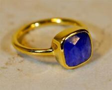 RAW SAPPHIRE SEPTEMBER BIRTHSTONE 18K GOLD PLATED SILVER LADIES RING #MV801