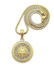 """2mm 24"""" Box Chain Necklace Gn007 G Iced Out Hip Hop Round Medusa Pendant w/"""