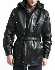 men's genuine leather coat with hood belt zip out liner