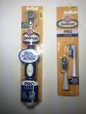 Arm & Hammer Spinbrush Pro Battery Powered Blue Toothbrush Dual Brush + 2 Heads