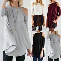 Plus S-5XL ZANZEA Women Off Shoulder A-Line Casual Solid Blouse Tops Loose Shirt