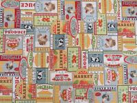 Farmers Dairy Market Cotton Curtain Fabric Upholstery Quilting Cushions Craft