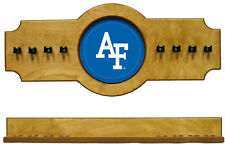 NCAA Air Force Falcons 2 pc Hanging Wall Pool Cue Stick Holder Rack - Oak