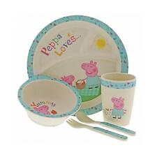 Peppa Pig Bamboo Dinner Set Children Kids Eco Friendly Cup Bowl Plate Gift Idea