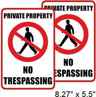 2 PRIVATE PROPERTY NO TRESPASSING Window Door Wall Warning Vinyl Sticker Decal