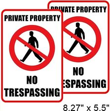 2 PRIVATE PROPERTY NO TRESPASSING Window Door Wall Warning Vinyl Sticker Decal