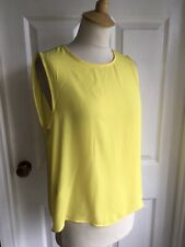 Bnwt Mango Mng Suit Collection Yellow Chiffon Pleat Top Size M