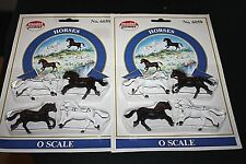 New Railroad Lot O Scale Horses Black & White 2 Packs 8 Horses Total -B=